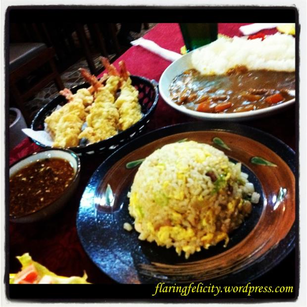 Curry Rice, Ebi TEmpura and Gyoza