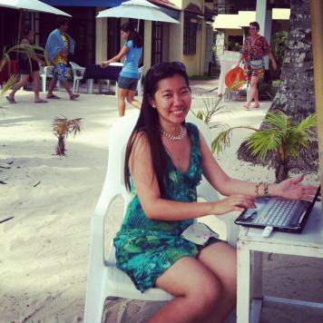 Working with my laptop along the white sand beach of Boracay ;)
