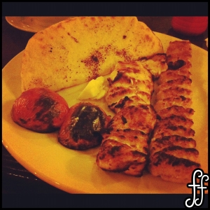 Special Chic Chelo Kebab with grilled tomato and pita bread