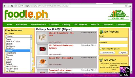 Their restaurant search bar lets you choose by cuisine! Like them on facebook at facebook.com/foodiedotph