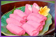 Dadar Gulung is a popular pancake rolled with pandan leaves