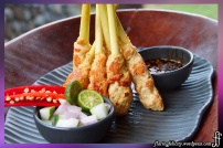 Sate (or Satay) Lilit is a dish consisting of diced or sliced chicken, goat, mutton, beef, pork, or fish. Sate is commonly threaded onto bamboo skewers, grilled over charcoal fire or coconut-shell charcoal, and then served with various spicy dipping sauces.