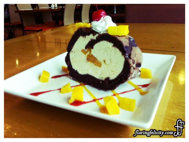 Chocolate Roulade stuffed with mango yogurt at P150