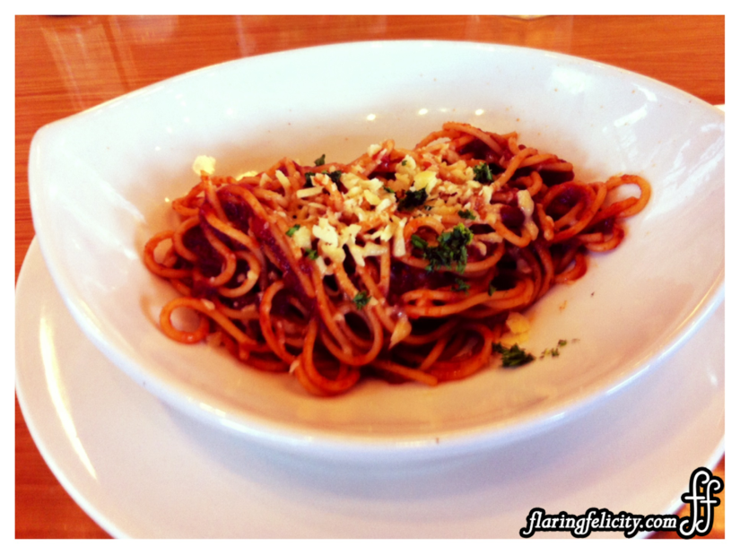 Uncle Cheffy Spaghetti Alejandro is a Spanish inspired pasta with tomato sauce, smoked chorizo, pimientos, and Edam cheese. Only P130 for junior size and P220 for medium.