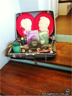 Go down memory lane with this suitcase of trinkets.