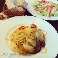 Il Padrino Margherita pasta with herbed fish, Il Padrino crab salad